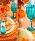 Combinatii de culori pentru nunta: turcoaz si portocaliu