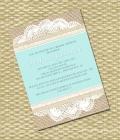Invitatii de nunta in tendinte: panza de sac si dantela