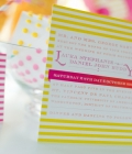 Invitatii de nunta in tendinte: culori neon si elemente geometrice