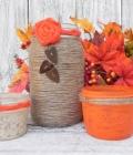 Mason jars: borcane decorate cu sac, dantela si sfoara (I)