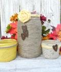 Mason jars: borcane decorate cu sac, dantela si sfoara (II)