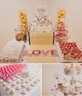 Masute cu dulciuri pentru nunta, decorate cu mesaje si indicatoare